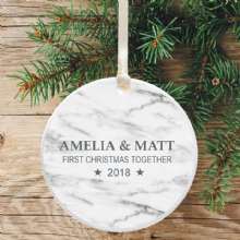 First Christmas Together Keepsake Decoration - Grey Marble Design